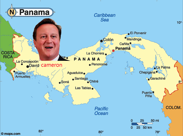 David Cameron sitting on a map of the tax haven Panama next to the city David | www.imjussayin.com